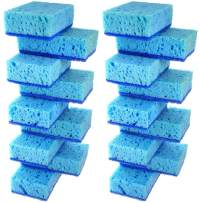 Okleen Blue Multi Use Scrub Sponge. Made in Europe. 18 Pack, 4.3x2.8x1.4 inches. Heavy Duty and Non Scratch Fiber. Odorless, Durable. Delicate Scouring Surface