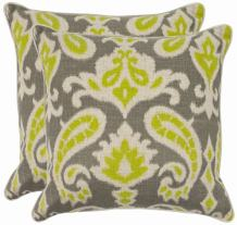 Safavieh Pillow Collection 18-Inch Paisley Pillow, Grey and Lime Green, Set of 2