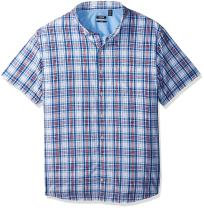 IZOD Men's Big and Tall Slim Fit Breeze Short Sleeve Button Down Plaid Seersucker Shirt