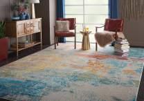 Nourison Celestial Modern Abstract Area Rug, 9' x 12', Sealife Multicolor Grey