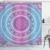 """Ambesonne Blue and Pink Shower Curtain, Ombre Mandala Floral Star Medallion Pattern Style Bohemian, Cloth Fabric Bathroom Decor Set with Hooks, 75"""" Long, Blue White"""
