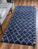 Unique Loom Rabat Shag Collection Lattice Trellis Geometric Moroccan Plush Navy Blue Runner Rug (2' 7 x 6' 0)