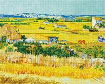 Maydear Cross Stitch Kits Stamped Full Range of Embroidery Starter Kits for Beginners DIY 14 CT 2 Strands - Van Gogh's Farm 22.83×18.90 inch