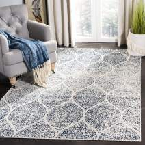 Safavieh Madison Collection MAD604A Geometric Ogee Trellis Distressed Area Rug, 3' x 5', Cream/Royal Blue