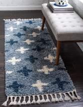 Unique Loom Hygge Shag Collection Geometric Plus Cozy Plush Blue Runner Rug (2' 2 x 6' 0)