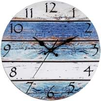 "Bernhard Products Rustic Beach Wall Clock 12"" Round, Silent Non Ticking Quartz - Battery Operated, Fiberboard Wooden Look, Vintage Shabby Beachy Ocean Paint Boards Nautical Decorative Clocks"