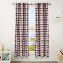 "AmazonBasics Kids Room Darkening Blackout Window Curtain Set with Grommets - 42"" x 84"", Multi-Color Buffalo Plaid"