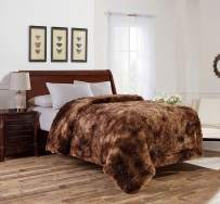 Viviland Luxury Long Shaggy Faux Fur Throw Blanket, Soft Plush Blanket for Bed Sofa Couch, Warm Decorative Fluffy Reversible Blanket for All Seasons,Brown,50x60 Inches