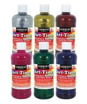 Sargent Art 17-3706 16 Ounce Art-Time Washable Glitter Tempera Paint Assortment, 6 Color Set Including Gold and Silver