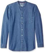 Amazon Brand - Goodthreads Men's Standard-Fit Long-Sleeve Band-Collar Denim Shirt