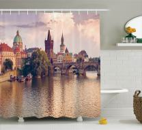 """Ambesonne Landscape Shower Curtain, Pastoral View at Charles Bridge Spires of Prague Central Europe Gothic Buildings, Cloth Fabric Bathroom Decor Set with Hooks, 70"""" Long, Salmon Brown"""