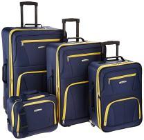 Rockland Journey Softside Upright Luggage Set, Navy, 4-Piece (14/19/24/28)