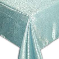 """QUEENSHOW Polyester 108 Inch Rectangular Tablecloth Desk Table Cover Cloth for Kitchen Dinning Tabletop, Blue 54"""" x 108"""""""