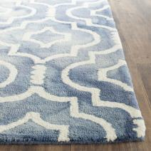 Safavieh Dip Dye Collection DDY538K Handmade Geometric Moroccan Watercolor Blue and Ivory Wool Area Rug (2' x 3')