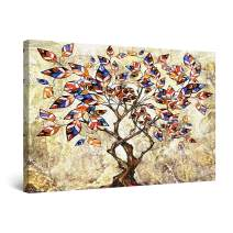 "Startonight Canvas Wall Art Abstract - Colored Leaves in Abstract Tree Painting - Large Artwork Print for Living Room 32"" x 48"""