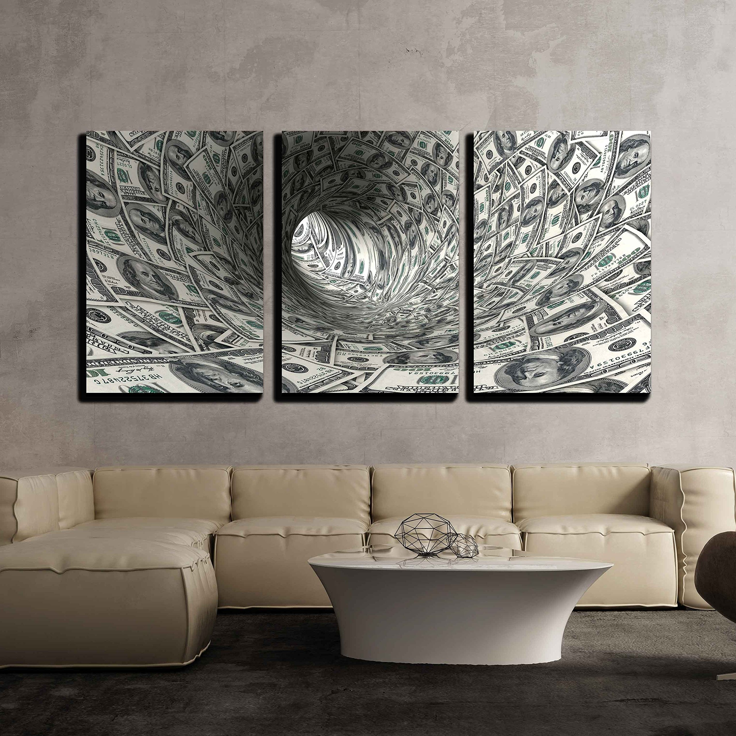 """wall26 - 3 Piece Canvas Wall Art - Dollars Funnel. - Modern Home Decor Stretched and Framed Ready to Hang - 16""""x24""""x3 Panels"""