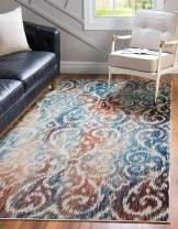Unique Loom Mystic Collection Vintage Over-Dyed Abstract Blue Area Rug (4' 0 x 6' 0)
