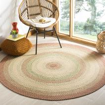 Safavieh Braided Collection BRD303A Hand-woven Reversible Area Rug, 4' Round, Rust/Multi