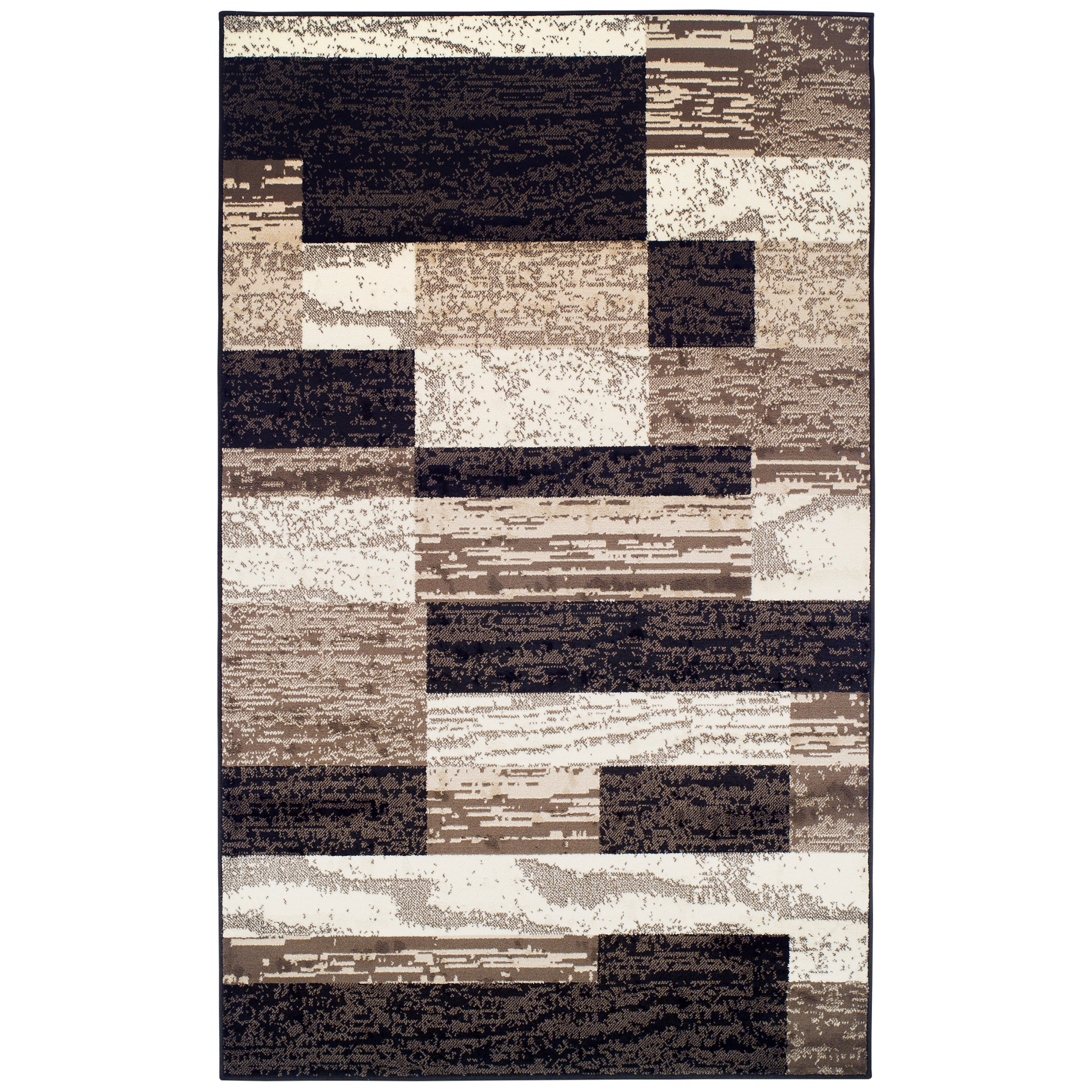 Superior Modern Rockwood Collection Area Rug, 8mm Pile Height with Jute Backing, Textured Geometric Brick Design, Anti-Static, Water-Repellent Rugs - Chocolate, 8' x 10' Rug