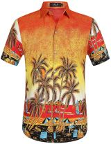 SSLR Men's Coconut Tree Button Down Short Sleeve Hawaiian Shirts