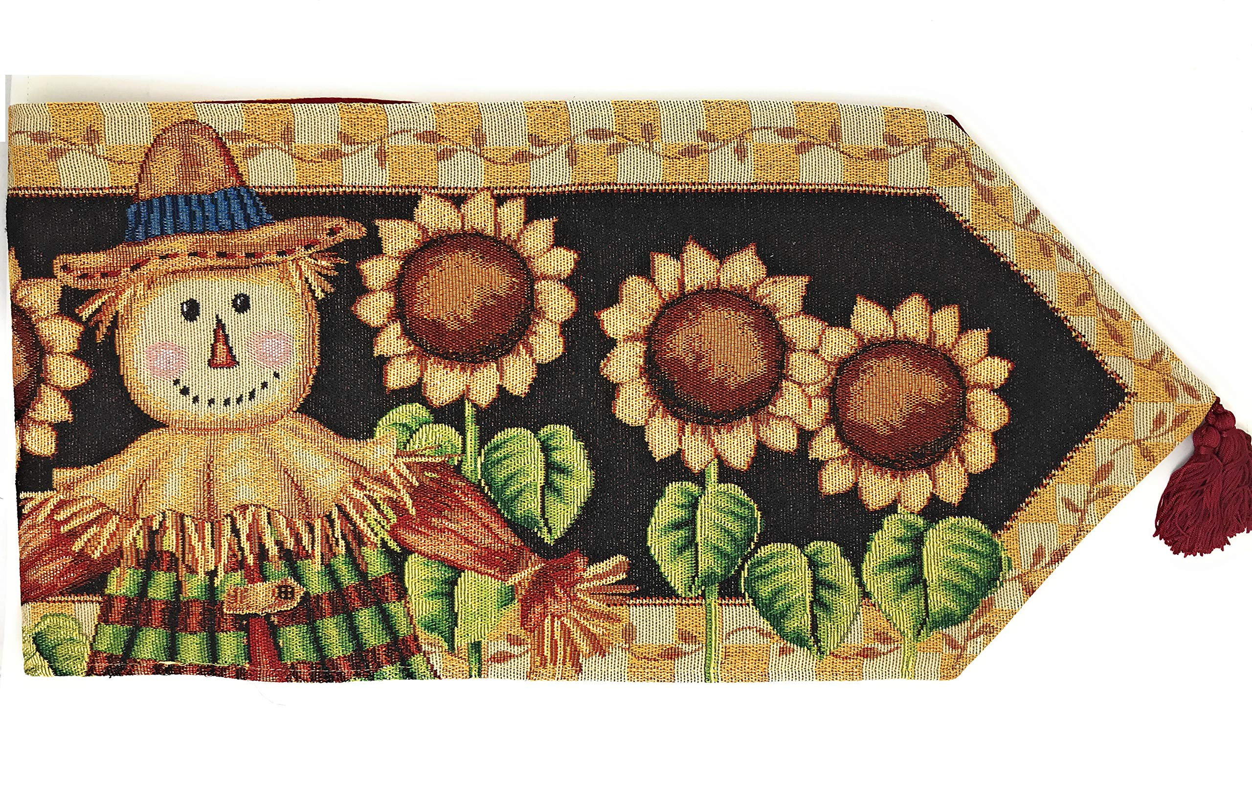 Tache Sunflower Field Scarecrow Thanksgiving Autumn Harvest Country Farmhouse Vintage Fall Decorative Woven Tapestry Dining Kitchen Table Runners, 13x72