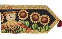 Tache Black Yellow Sunflower Field Scarecrow Thanksgiving Autumn Harvest Country Farmhouse Vintage Long Fall Decorative Woven Tapestry Dining Kitchen Table Runner, 13x90