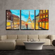 """wall26 - 3 Piece Canvas Wall Art - Oil Painting of Eiffel Tower, France - Modern Home Decor Stretched and Framed Ready to Hang - 16""""x24""""x3 Panels"""