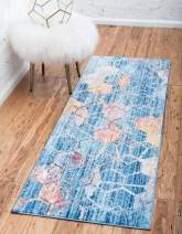 Unique Loom Rainbow Collection Geometric Abstract Trellis Modern Watercolor Blue Runner Rug (2' 0 x 6' 0)