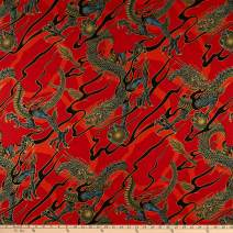 Alexander Henry s Golden Tatsu Metallic Fabric, Red, Fabric By The Yard