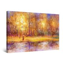 """Startonight Canvas Wall Art Abstract - Warm Golden Color in The Forest Painting - Large Framed 32"""" x 48"""""""