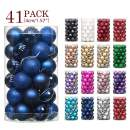 """Jusdreen 41pcs Christmas Balls Ornaments for Xmas Tree Shatterproof Christmas Tree Hanging Balls Decoration for Holiday Party Baubles Set with Hang Rope 1.57""""(Dark Blue 40mm)"""