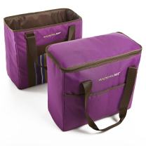 Rachael Ray ChillOut 2 Go Totes, Matching Set of 2 Insulated Tote Bags for Shopping/Entertaining, Purple Stripe