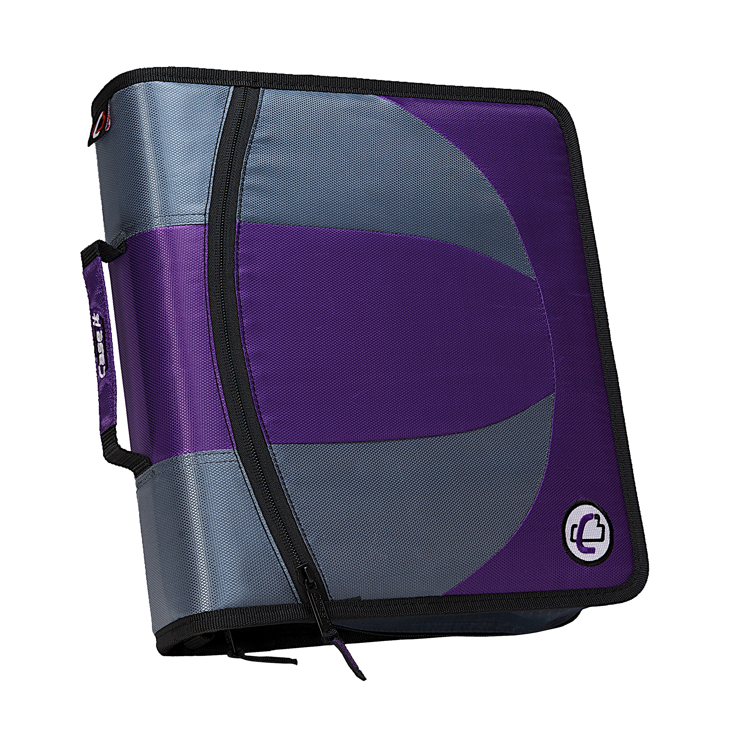 Case-it Dual 2-in-1 Zipper D-Ring Binder, 2 Sets of 1.5-Inch Rings with Pencil Pouch, Purple, DUAL-101-PUR-18
