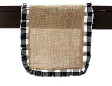 """Chardin home Natural Jute Burlap with Black & White Cotton Check Border Pleated Ruffled, Rustic, Vintage Table Runner for Parties, BBQ's, Everyday use, Holidays and Special Occasions. Size: 13""""x72"""""""