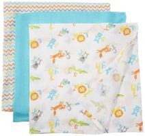 Luvable Friends 3 Piece Muslin Swaddle Blankets, ABC, One Size