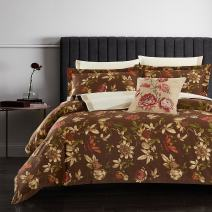 Casabolaj Espresso Luxury Duvet Covers Set 3 Piece Vintage Rustic Retro Coffee Brown Floral Botanic Egyptian Cotton Sateen 400 Thread Count Button Closure and Corner Ties available(King)