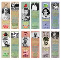 Creanoso Famous Historical Americans Athletes Facts Bookmarks (30-Pack) – Learning Facts Rewards Cards – Awesome Educational Gift Bookmarks for Students, Boys, Girls, Teens, Sports Enthusiasts