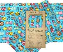 Meli Wraps Beeswax Wraps - Reusable Food Wrap Alternative to Plastic Wrap. Certified Organic Cotton, Naturally Antibacterial. 3-Pack includes sizes (SML) in Pineapple Print