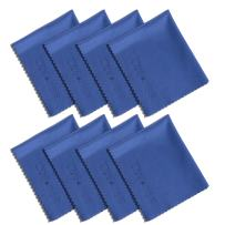 Wisdompro 8-Pack Microfiber Cleaning Cloth for Camera Lens, Glass, Lenses, Phone, iPhone, iPad, Tablet, Laptop, LCD TV, Computer Screen, Monitor and Other Delicate Surface - Blue (6 x 7 Inches)