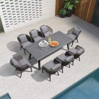 PURPLE LEAF 9 Pieces Patio Dining Sets All-Weather Wicker Outdoor Patio Furniture with Table All Aluminum Frame for Lawn Garden Backyard Deck Outdoor Dining Sets with Cushions and Pillows, Grey