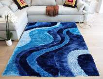 Shag Shaggy Collection Light Blue Dark Blue Turquoise Colors Area Rug Carpet Rug 8' Feet x 10' Feet Hand-Woven 3D Carved Cozy Contemporary Modern Comfortable Soft Living Room Bedroom Decorative