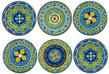Melange 6-Piece 100% Melamine Dinner Plate Set (Gardens of Italy Collection ) | Shatter-Proof and Chip-Resistant Melamine Dinner Plates