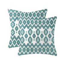 Natural Union Teal 18 x 18 Pillow Covers Embroidered Exquisite Jacquard 100% Cotton Square Canvas Cushion Covers