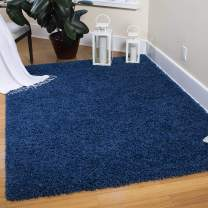"""Ottomanson Cozy Color Solid Shag Contemporary Living and Bedroom Soft Shaggy Kids Area Rug, 7'10"""" x 9'10"""", Navy"""