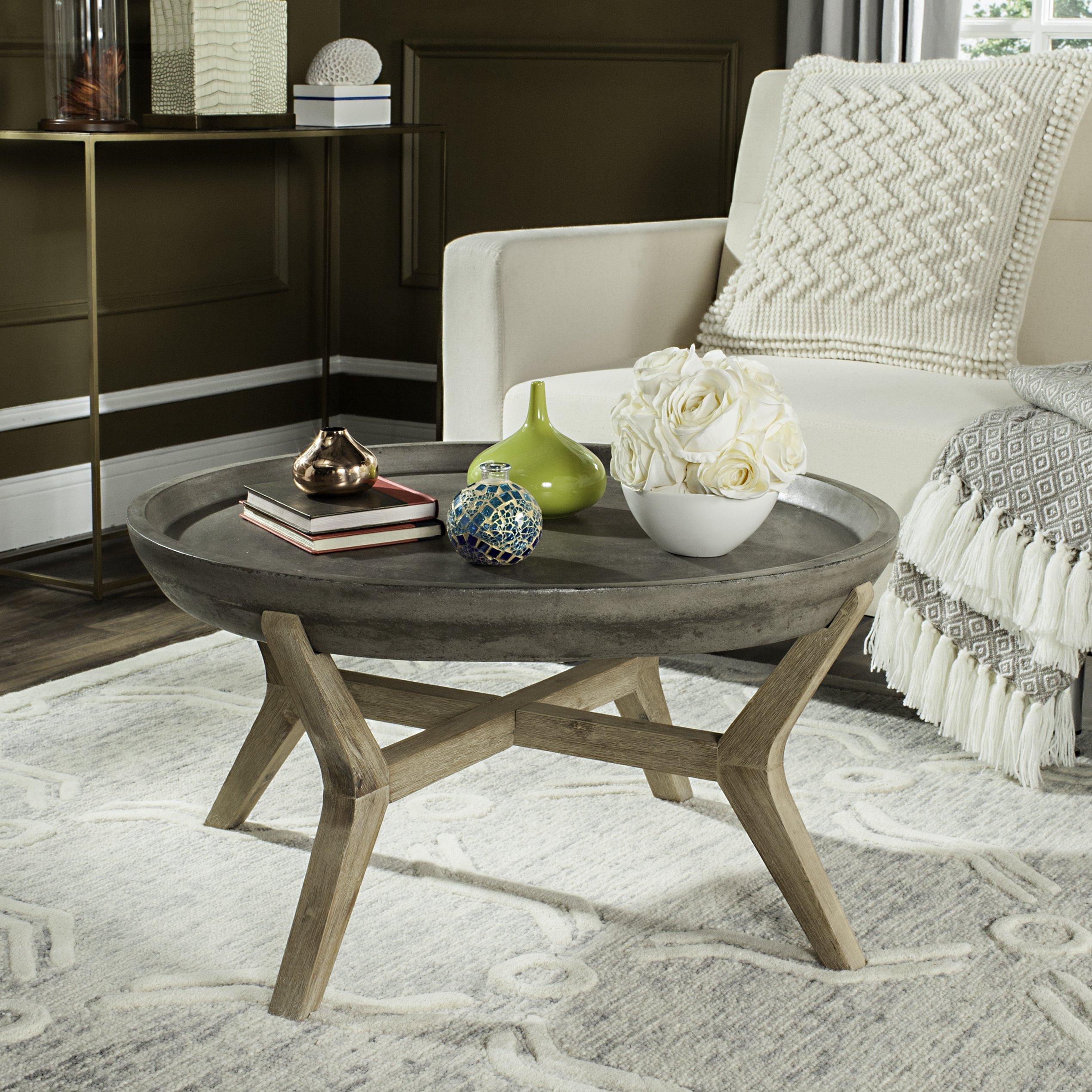 Safavieh Outdoor Collection Wynn Modern Concrete Round 18 1 Inch Coffee Table