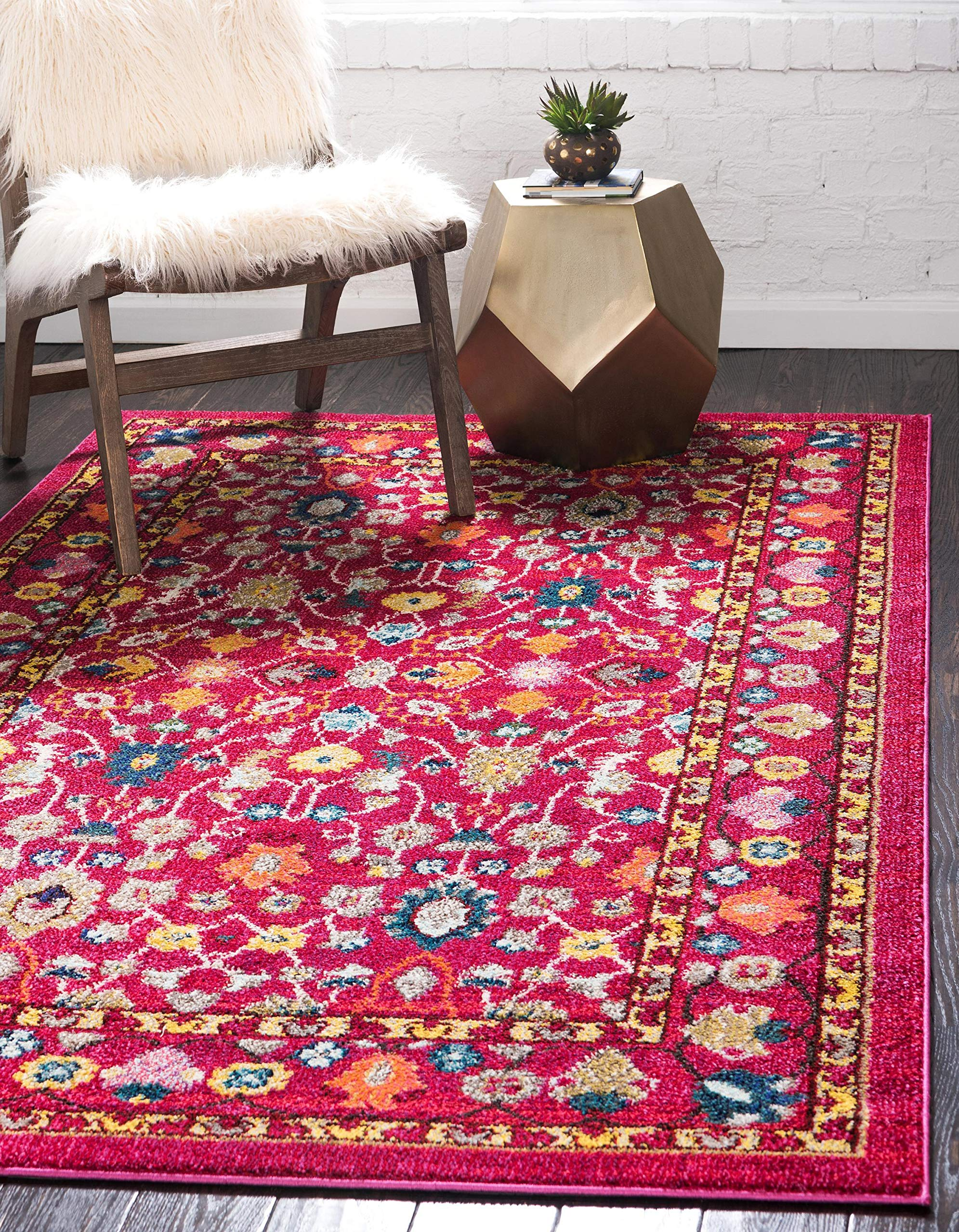 Unique Loom Medici Collection Floral Traditional Vibrant Colors Pink Area Rug (9' 0 x 12' 0)