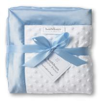 SwaddleDesigns Stroller Blanket, Cozy Microfleece, Plush Dots with Pastel Blue Satin Trim