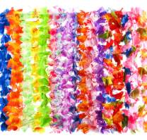 80 Count Hawaiian Flower Lei for Luau Party - Bulk Set of Floral Necklace Leis Vibrant Colors Assortment for Party Favors, Garland Decorations or Ornaments for Any Occasion
