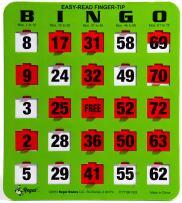 Regal Games Easy Read 5-Ply Jumbo Finger-Tip Shutter Slide Bingo Cards, Green