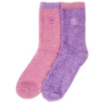 Noble Mount Feather Fuzzy Socks for Women (2-Pairs) - Anti-Slip Warm Socks for Women